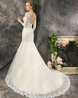 Scollo Profondo Chiesa Schiena Scoperta Eleganti Vestiti Da Sposa Avorio