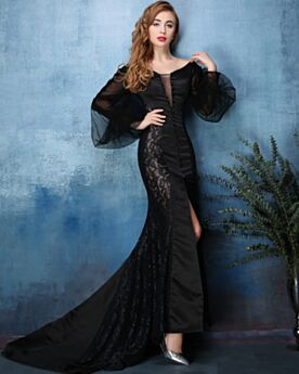 Club Prom Dress For Occasions Sexy Low Cut Lace Tulle Black Mermaid Long Sleeve Open Back With Train