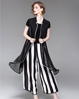Black And White Midi Linen Top and Pants Wide Leg Beautiful Striped