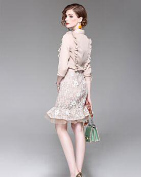 Color Champagne Conjuntos De Ropa Outfit Gasa Elegantes Volantes Entallados