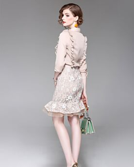 Long Sleeve Champagne Sheath Short Beautiful Chiffon Peter Pan Collar With Lace Ruffle Top and Skirt