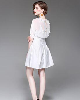 Vestido De Oficina Gasa Sexys Vestidos Casuales Media Manga Patinadora Blanco