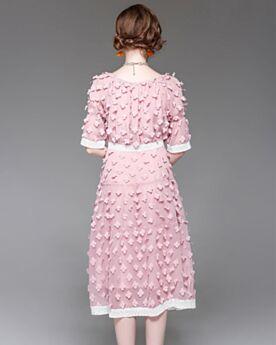 Chiffon Pink Elegante Etui Business Tages Kleider Für Damen Halbe Hülse Mit Spitze