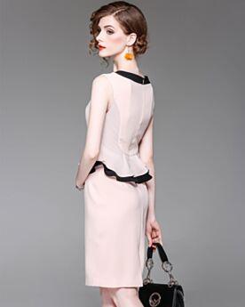 Fourreau / Droite À Volants Peplum Élégant Rose Pale Robes Casual Bureau