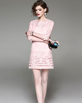 Short Sexy Sheath Embroidered Hollow Out Half Sleeve Work Day Dresses Light Pink
