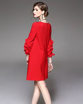 Day Work Dress For Women Midi Ruffle Half Sleeve Shift Polyester Chic