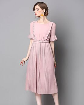 Half Sleeve Midi Ruffle Office Day Dress For Women Chiffon Scoop Neck Cute Shift