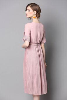 Casuales Volantes Vestidos Chic Midi Vestido Para Oficina Rosa Palo Plisado