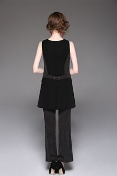 Negros Conjuntos De Ropa Outfit Pantalones Anchos Escote V Lino Camiseros A Rayas Sencillos