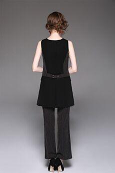 Scollo A V Ufficio Lunghi Pantaloni Larghi Senza Maniche Abbigliamento Donna