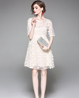 Sexy Hollow Out Shift Office Casual Dresses Tulle Polyester Summer Midi