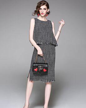 Shift Top and Skirt Black Peplum Tassel Midi Linen Sweater Simple Going Out Work Clothes Set Sleeveless