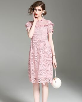 Light Pink Polyester High Neck Work Casual Dresses Short Sleeve Sexy Ruffle Hollow Out Sheath Spring Midi