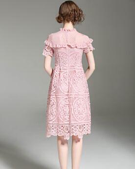 Kurzarm Sexy Hochgeschlossene Etui Rüschen Cut Out Business Tages Damenkleider Midi Pink 2017 Polyester