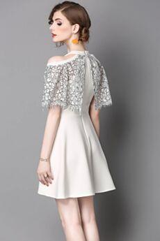 Blancos De Encaje Cortos Patinadora Cuello Halter Vestidos Casuales Gasa