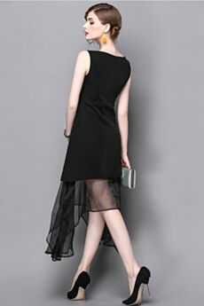 Shift Office Day Dress For Women Sleeveless Organza Polyester Midi Simple
