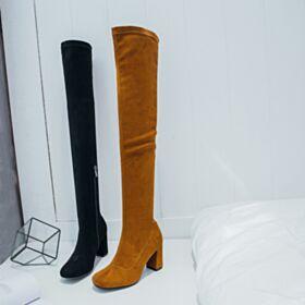 8 cm Blokhakken Middelhoge Hakken Overknee Bruine Leren Ronde Neus Boots