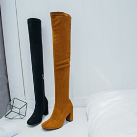 Braun Stiefeletten Leder Fallen 8 cm / 3 inch Overknee Chunky Heel Wildleder Schuhe Highheels Gefütterte Runde Zeh