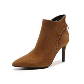 Stiefeletten Stilettos Schnürens Wildleder Hochhackige Leder Ankle Boots Highheels