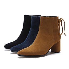 Schnürens Spitz Zeh Schuhe Ankle Boots Chunky Heel Stiefel Leder