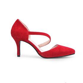Tacco Alto 8 cm Cinturino Alla Caviglia Tacchi A Spillo Decoltè Rosso