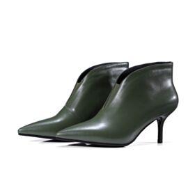 Bottes Talon Mid Vert Olive Cuir Chaussure Femme Fourrées Bottines