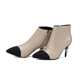 High Heeled 8 cm / 3 inch Ankle Boots Womens Shoes Stiletto Leather