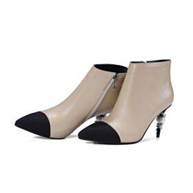 Highheels Nude Hochhackige Stiefeletten Stilettos 8 cm / 3 inch Gefütterte Lack Ankle Boots Leder