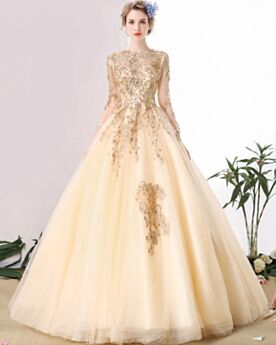 A line Long Sleeve With Sequin Beaded Backless Wedding Dresses Sparkly Luxury With Train Lace Tulle