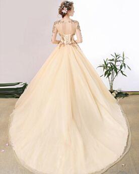 Perlen Rückenfreies Spitzen Tüll Beige Lange Ärmel Brautkleider A Linie / Prinzessinen Luxus Glitzernden