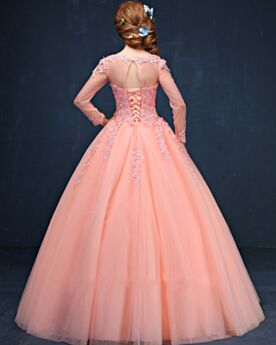 Ball Gown Appliques Open Back Coral Prom Quinceanera Dress Coral Tulle