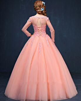 Bonitos Corte Princesa Brillantes Vestidos De Prom Fiesta Coral Quinceañera Vestidos De 15 Años Manga Larga Largos