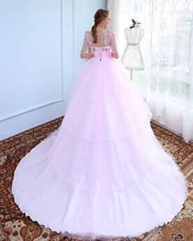 Long With Train Pink Tulle Elegant Gorgeous Half Sleeve Open Back Ball Gown Deep V Neck Prom Quinceanera Party Dress