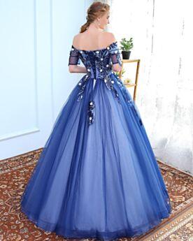 Azul Rey Largos Vestidos De 15 Años Vestidos Prom Strapless Media Manga De Lujo Estilo Princesa Elegantes Tul Apliques