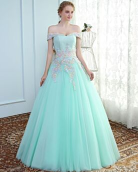 Tulle Prom Quinceanera Dress Open Back Turquoise Ball Gown Charming Bandeau