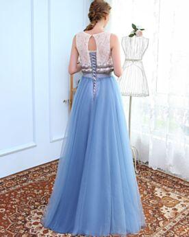 Empire Lange Ärmellos Rückenfreies Schößchen Abiball Abend Brautjungfern Kleider Für Festliche Schöne Schlichte Himmelblau Spitzen Tüll