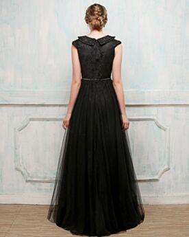 Ärmellos Rückenfreies Schwarz Empire Tüll Spitzen Glitzernden Elegante Kundengerecht Abend Abiball Kleider Für Festliche