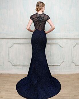 Christmas Evening Dress For Party Short Sleeve Sequin Navy Blue Long With Train Beaded Mermaid Luxury Sparkly