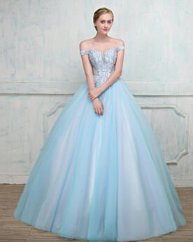 Sexy Sparkly Prom Quinceanera Special Occasion Gown Spring Ball Gown Light Blue Open Back Tulle Short Sleeve Strapless Long