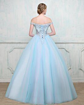Brillantes Vestidos De 15 Años Con Cuentas Espalda Descubierta Strapless Princesa Hombros Caidos Vestidos De Fiesta Para Prom Largos
