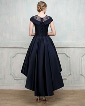 Short High-Low Satin Lace Vintage Beautiful Cocktail Bridesmaid Dress Fit And Flare