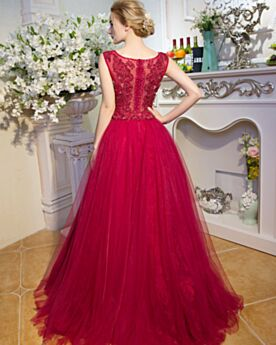 Prom Dress Fit And Flare Sleeveless Tulle Lace Elegant Appliques Long