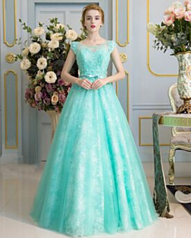 Lace Tulle Appliques Beaded Ball Gown Quinceanera Prom Dresses Sleeveless Turquoise Long