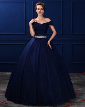 Largos Vestidos De Prom Fiesta Espalda Descubierta Azul Marino Vestidos De 15 Años Corte Princesa Vintage Sencillos