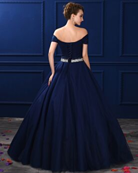 Ball Gown Navy Blue Bandeau Quinceanera Prom Dress For Party Long Open Back