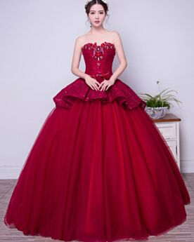 Lace Tulle Elegant Vintage Prom Quinceanera Dresses Ball Gown Fall Beaded Peplum Burgundy Long Strapless