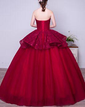 Vestidos De 15 Años Vintage Escote Corazon Color Burdeos Vestidos De Prom Fiesta Tul Largos Princesa Encaje Peplum Elegantes Con Cuentas