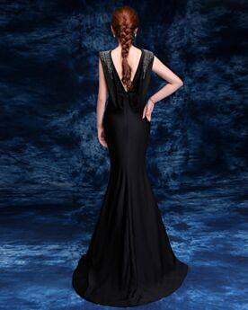 Satin Longue Noir Robe De Ceremonie De Soirée Dos Nu Peplum Sirène