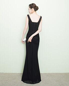 Schwarz Etui Elegante Schlichte Satin Abendkleider Für Festliche Lange