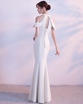 Formal Evening Dress For Party Long Open Back Hollow Out Simple Beautiful Halter Mermaid White Satin
